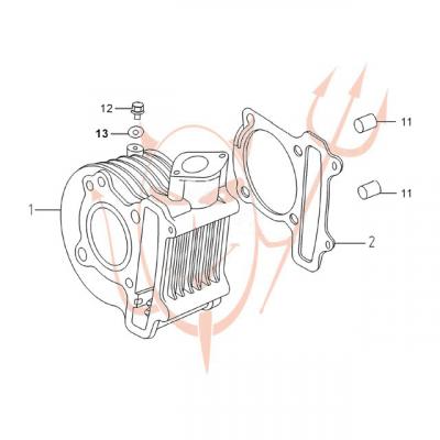 4-Takt Motor (152-QMI) 125 ccm - Zylinder