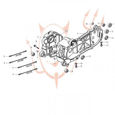 4-Takt Motor (139-QMB) 50 ccm - Motorgehäuse