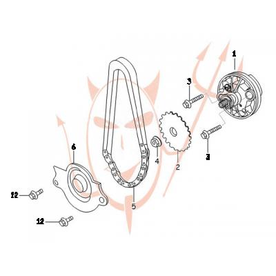 4-Takt Motor (152-QMI) 125 ccm - Ölpumpe