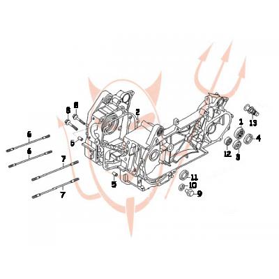 4-Takt Motor (152-QMI) 125 ccm - Motorgehäuse