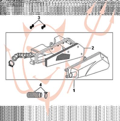 4-Takt Motor (139-QMB) 50 ccm - Luftfilter