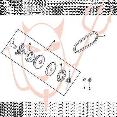 4-Takt Motor (139-QMB) 50 ccm - Variomatik