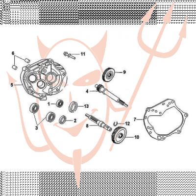 4-Takt Motor (139-QMB) 50 ccm - Getriebe